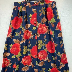 Vintage Melrose Skirt  Buttons Front  100%  Rayon